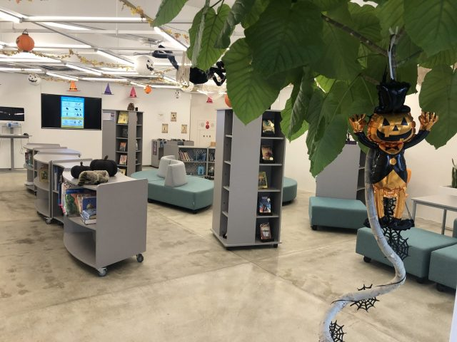 Our open library spaces are ready for Halloween!